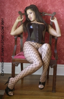 Sunny Shows Off In Black Fishnet Stalkings Picture
