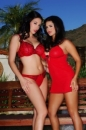 Lesbians In Red Lingerie picture 1